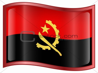 Angola Flag icon, isolated on white background.