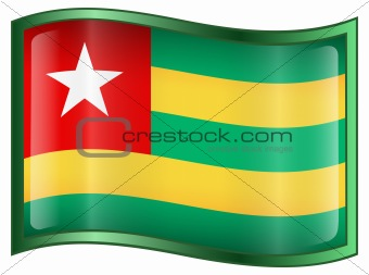 Togo Flag icon, isolated on white background.