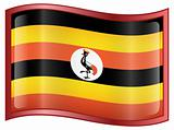 Uganda Flag icon, isolated on white background.