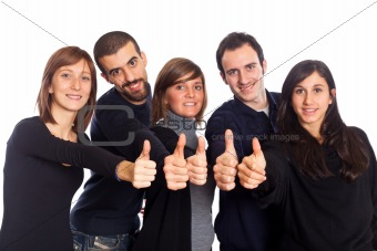Happy Young Adult People with Thumbs Up