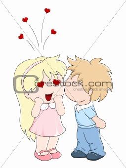 Boy kisses the girl on cheek