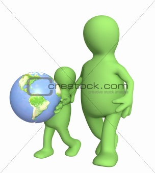 Adult and child with Earth