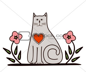 Cat with flower. Vector
