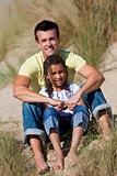 Man & Girl, Happy Father and Daughter Sitting At Beach