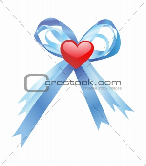 Blue bow and red heart