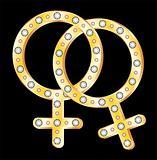 Gold lesbians couple symbol