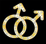 Gold gays couple symbol