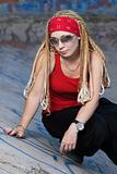 Rapper girl posing outdoors