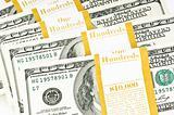 Close up of ten thousand american dollars