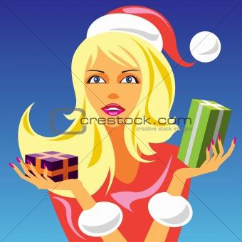 christmas girl with gift 2