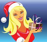 christmas girl with gift 3