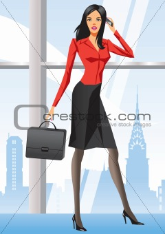 Business woman in office in New York