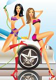car wash - sexy fashion models