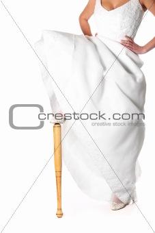 Bride and baseball bat