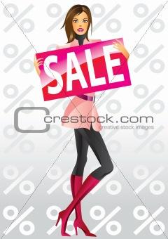 fashion shopping girls with board sale