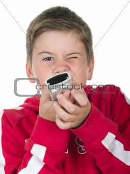Boy holds a control panel