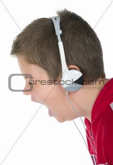 Little boy in ear-phones