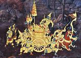Mural of Ramayana on temple wall Bangkok Thailand