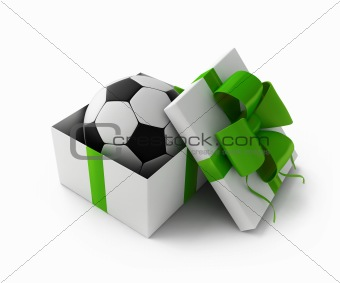 Football in a gift box