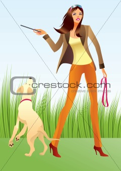 Sexy woman with a dog in the park