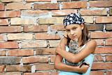 Teenage girl portrait with cat