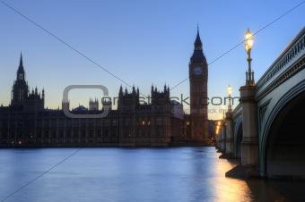 London night skyline of Parliament, Big Ben, Westminster Bridge