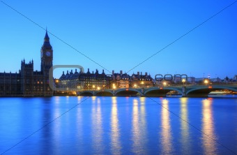 London night skyline of Parliament, Big Ben, Westminster Bridge