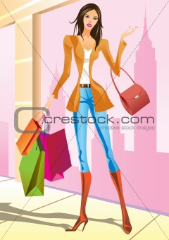 fashion shopping girls with shopping bag in New York