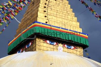 Golden stupa in Kathmandu Nepal