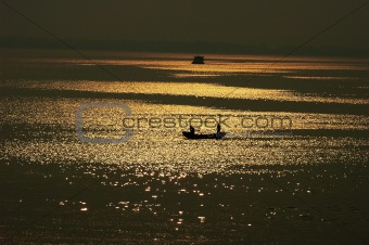 Fishing boat in lake