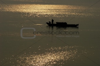 Fishing boat in lake