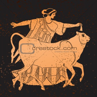 Greece mural painting,  Woman and Bull
