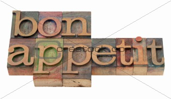 bon appetit - phrase in old letterpress type