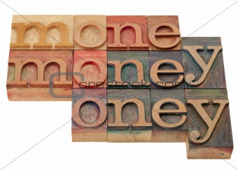 money - word in letterpress type