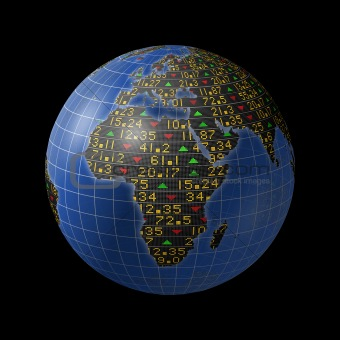 African economy with stock market tickers