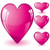Set pink hearts
