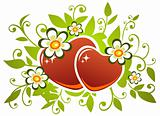 two hearts and flowers