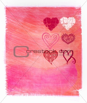 Abstract  pink watercolor background with hearts
