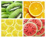 collection of fruits: kiwi, lemon, orange, watermelon