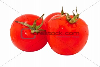 Three red tomatoes, isolated on white background