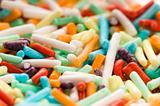 macro of rainbow sprinkles