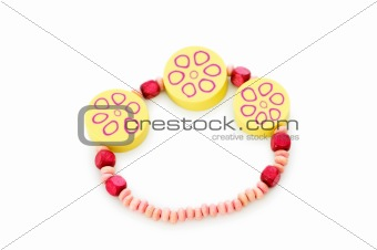 Beaded bracelet isolated on the white background