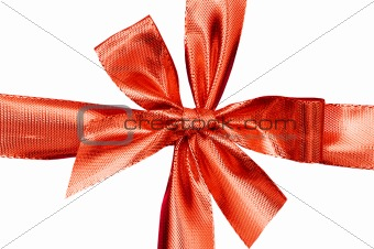 Close up of red gift box with golden ribbon