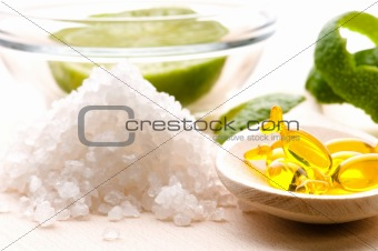 lemon bath - bath salt, capsule and fresh fruits