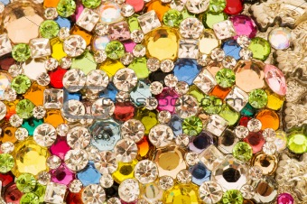 Close up of colourful background with many beads