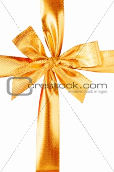 Close up of red gift box with gold bow
