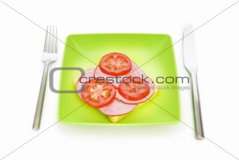 Tasty sandwich isolated on the white background