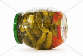 Can of cucumbers isolated on the white