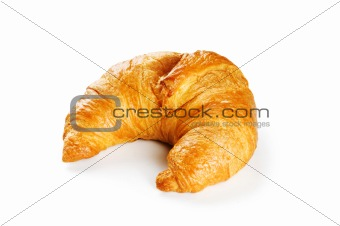 Breakfast concept - croissant and tea isolated on white