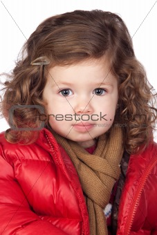 Beautiful baby girl with red coat